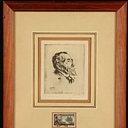 Old Rare Etching Josef Conrad by Walter Tittle