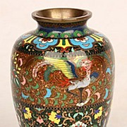 Antique Japanese Goldstone Old Cloisonne Vase Bird Ando