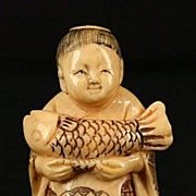 Old Japanese Carved Ivory  Netsuke Boy Dead Fish Signed