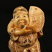 Old Japanese Hand Carved Signed Netsuke Man W/ Big Fish