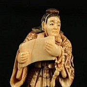 Old Japanese Carved Ivory Netsuke Monk W/ Scroll Signed