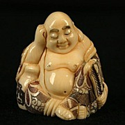 Old Japanese Carved Ivory Netsuke Seated Buddha Signed