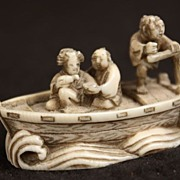 Antique Japanese Signed Netsuke Ivory Boat