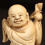 Antique Signed Japanese Ivory Netsuke Wandering Man