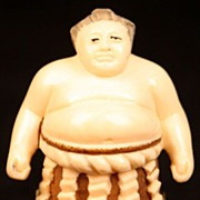Antique Japanese Hand Carved Signed Ivory Netsuke Sumo Wrestler Man