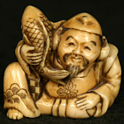 Antique Japanese Hand Carved Ivory Netsuke Fisherman