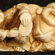 Antique Japanese Hand Carved Ivory Buddha and Child Netsuke