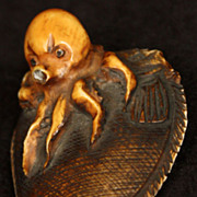 Antique Japanese Meiji Period Octopus on a Fish Signed Netsuke