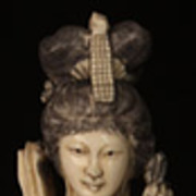 Antique Chinese Carved Ivory Woman with Roses