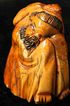 Antique Japanese Hand Carved Old Netsuke Sitting Monk