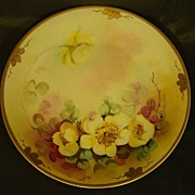 SALE Pickard hand painted yellow floral plate Alfred Keates