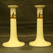 SALE Lenox hand painted Dutch sailing ships pair candlesticks