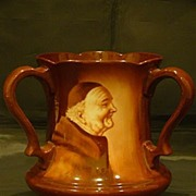 American Belleek hand painted 3 handle loving cup monks