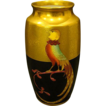 Pickard hand painted pheasant on black gold vase