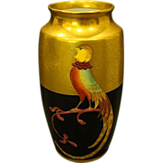 SALE Pickard hand painted pheasant on black gold vase