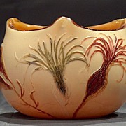 Legras French cameo glass tricorner bowl with seaweed