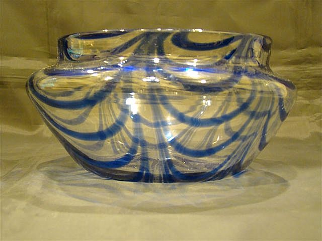 Nailsea glass cobalt blue and clear art glass bowl