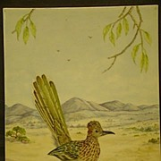 SALE Painting on porcelain road runner in desert