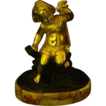 French gilded bronze scuplture boy with bird in his hand