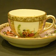 SALE Dresden miniature pink courting scene cup and saucer