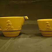 SALE PENDING Wedgwood mustard yellow jasperware creamer and sugar centaur