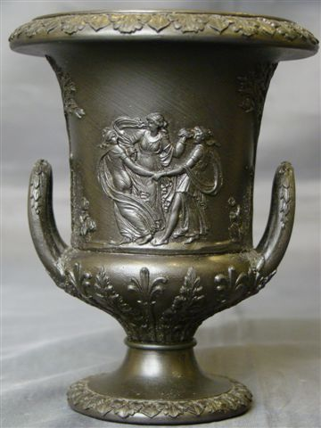 Wedgwood basalt jasperware miniature handled urn classic figures