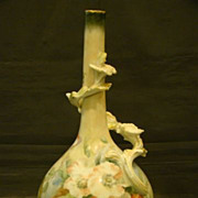 Limoges unusual form tall hand painted floral vase