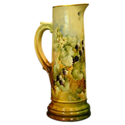 Vienna Austrian hand painted blackberry tankard scroll handle