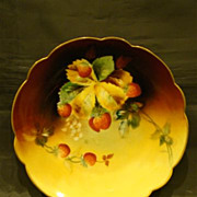 Pickard hand painted strawberries plate Limoges Charles Hahn
