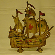 Vintage painted cast iron ship doorstop