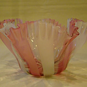 Victorian pink white striped ruffled art glass bowl dish