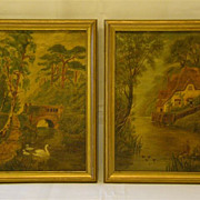 Victorian pair of oil painting swans lake cottage F Cattrall 1911