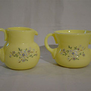 Pairpoint glass enameled creamer sugar Cynthia Bryden
