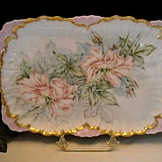 Beautiful Limoges Ruffled Rim Dresser Tray and Lovely, Naturalistic Roses