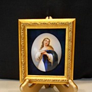 Spectacular HANDPAINTED Painting on Porcelain Plaque; Mary, Saint, Religious, Ornate