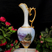 Beautiful, Graceful European 1905 Nouveau Ewer; Handpainted Mountain Forest Scene; ARtist; Dat