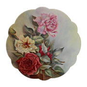 Gorgeous, Large Limoges Scalloped Charger; M.W. POOLE; Red, Pink & Yellow Roses