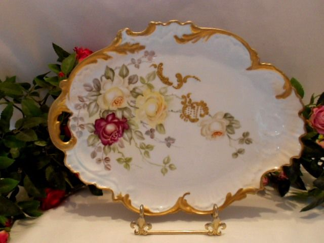 Gorgeous Limoges Tray; Red & Yellow Roses; Rococo; Ornate; Victorian; Handpainted; Raised Paste Scroll