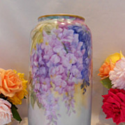 Huge Porcelain Floor Vase; Cascading Wisteria; Gorgeous Colors