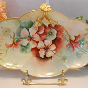 Richly Painted Limoges Split Handle Tray; Vivid, Colorful Nasturtiums & Gold