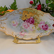 Beautiful, Ornate Tray; Artist; Roses; Heavy Gold Overlay