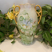Wonderful MZ Austria Nouveau Handled Vase; Magical Water Lillies