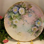 Colorful, Lovely Handpainted Charger; Beautiful Morning Glories
