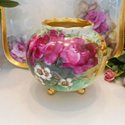 Lively, Lovely Minnie Luken Rose Covered Footed Rose Bowl Vase