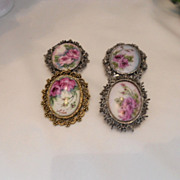 4 LARGE, Beautifully Hand Painted Brooches; Roses; Ornate