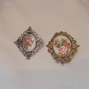 Two LARGE, Beautiful, Hand Painted Brooches; Roses; Ornate