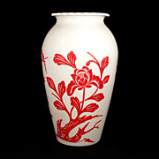 Large Fire King Glass Vintage Red Oriental Garden Flowers & Birds Design Hoover Vase