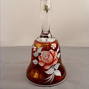 Westmoreland Ruby Floral Glass Bell Hand Painted Rose Artist Signed Peltier 1976