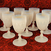 Set 8 Antique 1890 Beaded Jewel EAPG Lacy Dewdrop Translucent White Water Goblets Stems