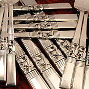 SOLD Oneida Community MORNING STAR Vintage 1948 Silver Plate Flatware Silverware Set Grille Vi